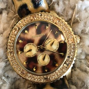Express leopard leather watch